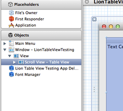 Xcode window with table view thumb